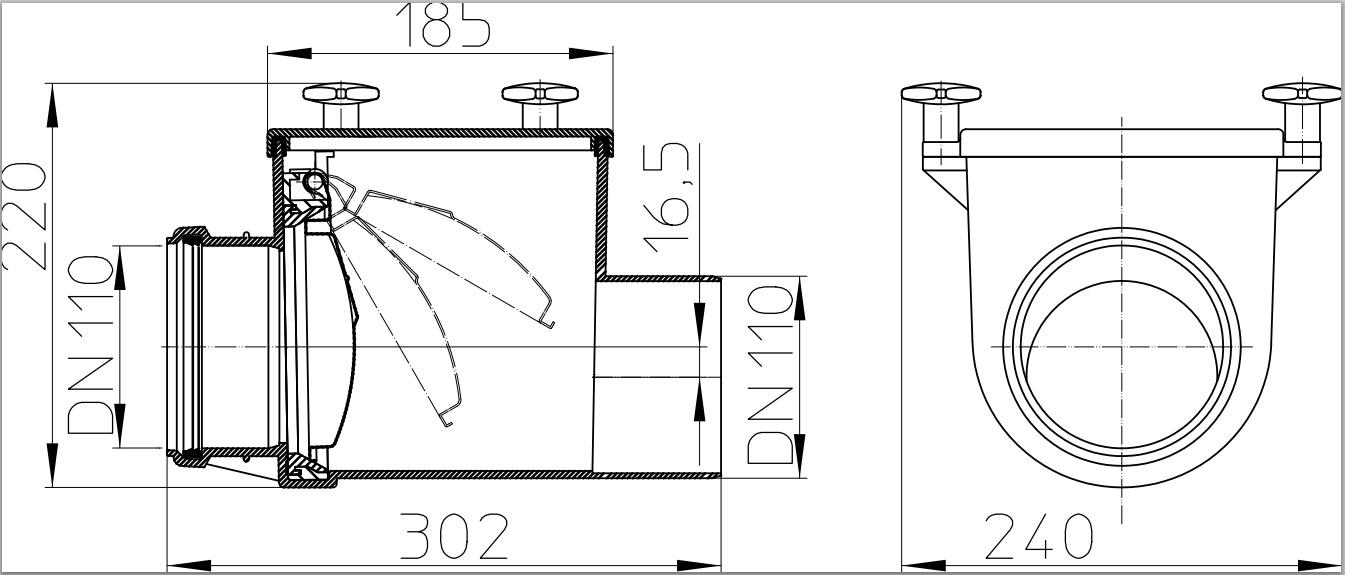 Механический канализационный затвор HL710 чертёж схема