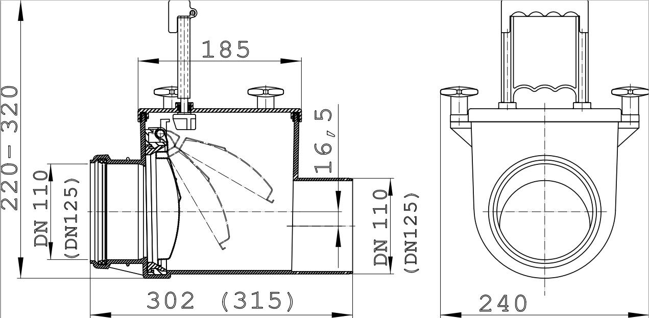 Механический канализационный затвор HL710.1 схема чертёж