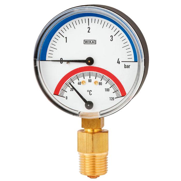 Биметаллический термоманометр WIKA 80 мм 16 бар 150 С тип 100.10