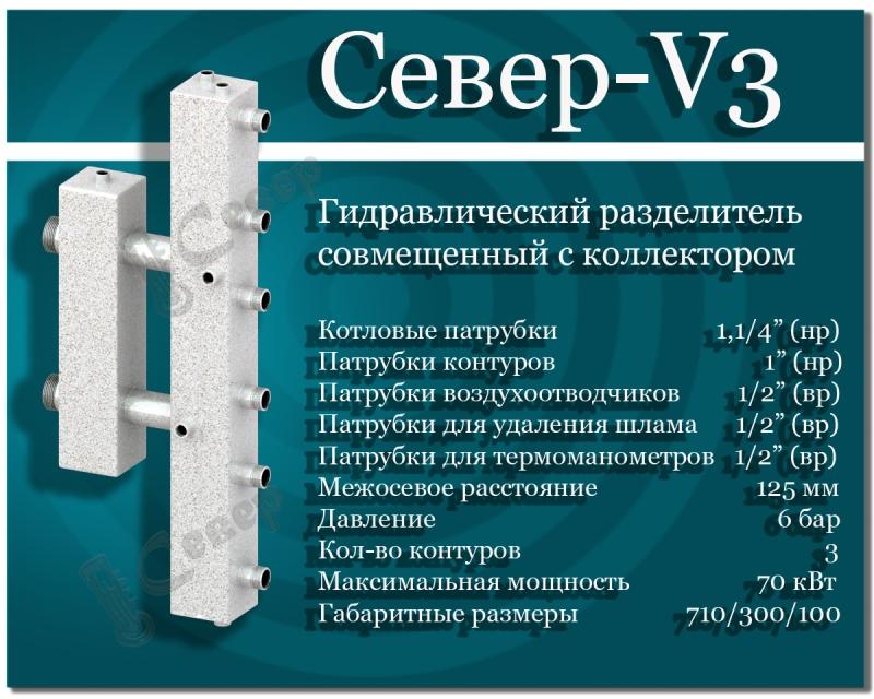 Гидравлический разделитель с коллектором СЕВЕР-V3