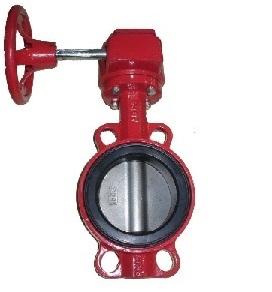 Дисковый затвор поворотный межфланцевый с редуктором со стальным диском Abra BUV-VF866 красный чугунный